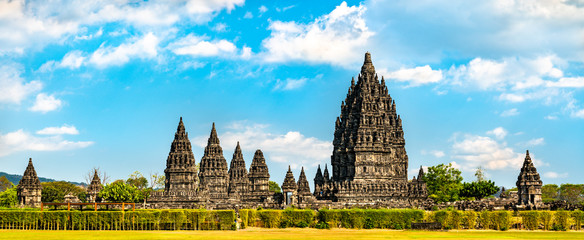 Tuinposter Pool Prambanan Temple near Yogyakarta. UNESCO world heritage in Indonesia