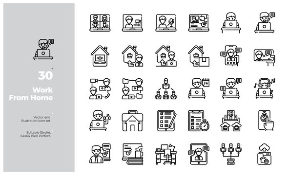 Vector Line Icons Set of Work From Home or Remote Working Icon. Editable Stroke. Design for Website, Mobile App and Printable Material. Easy to Edit & Customize.