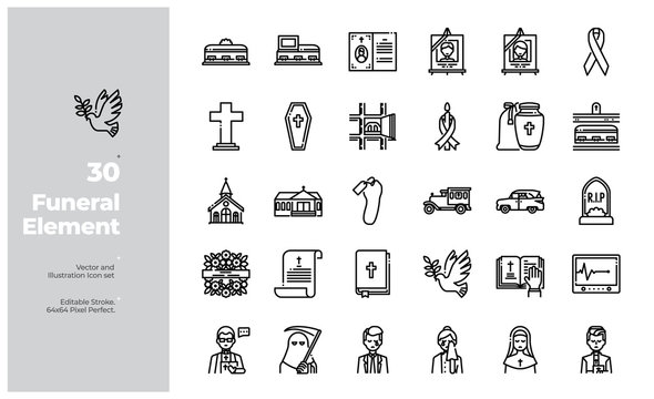 Vector Line Icons Set of Funeral Icon. Editable Stroke. Design for Website, Mobile App and Printable Material. Easy to Edit & Customize.