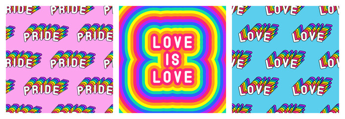 "Set of LGBT pride month poster and 2 seamless patterns with rainbow-colored patches ""Love"" and ""Pride"". Vector illustrations."