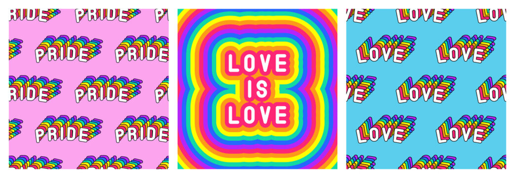 """Set of LGBT pride month poster and 2 seamless patterns with rainbow-colored patches """"Love"""" and """"Pride"""". Vector illustrations."""