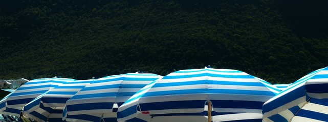 Fototapeta Blue Striped Sunshades Outdoors