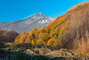 The South-East Crater of volcano Etna as seen from the eastern flank during the fall (Sicily, Italy)
