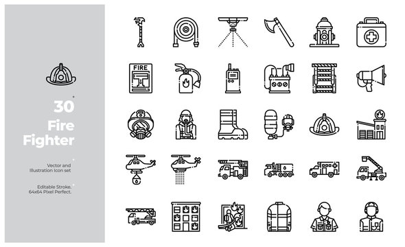 Vector Line Icons Set of Fire Fighting Icon. Editable Stroke. Design for Website, Mobile App and Printable Material. Easy to Edit & Customize.
