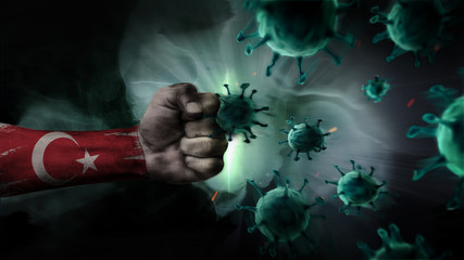 Deurstickers Grandfailure Turkey vs Coronavirus. Fight against deadly virus. Battle of Turkey with COVID-19