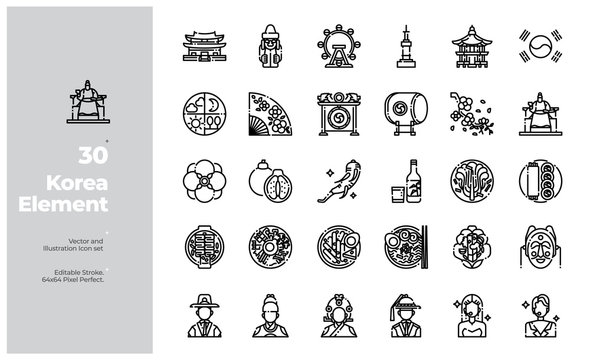 Vector Line Icons Set of South Korea Icon. Editable Stroke. Design for Website, Mobile App and Printable Material. Easy to Edit & Customize.