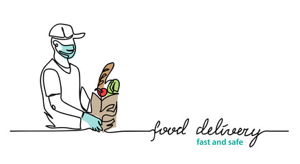 Food delivery, courier carry package with meal wears face mask and gloves. Vector simple illustration. Promotion web banner, background with courier. Food delivery lettering, fast and safe text.