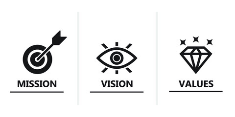 mission vision values vector icon