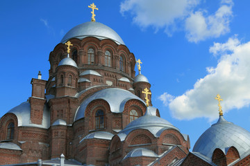 Large cathedral of red brick. Sviazhsk Island, Tatarstan, Russia