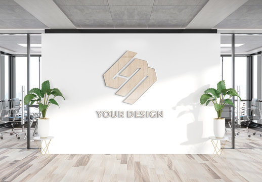 Wooden Logo on Office Wall Mockup