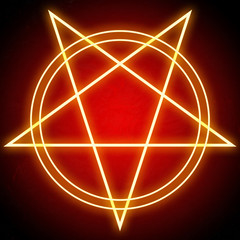 Glowing bright pentagram star and double circles shining red on dark background. Religious satanic symbol and icon of demons and hell. Concept illustration of geometric neon lines