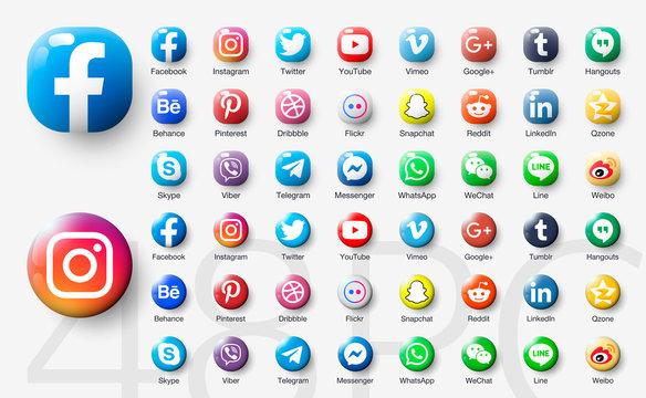 48pc 3d Set glossy of popular social app icons with shadow: facebook, instagram, twitter, viber, whatsapp, skype, youtube, telegram, messenger, snapchat, pinterest ...