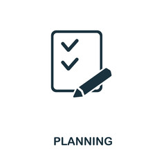 Planning icon from personal productivity collection. Simple line Planning icon for templates, web design and infographics