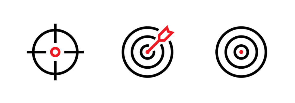 Set of Aim, Target and Goal icons. Editable line vector.