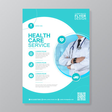 Corporate healthcare and medical cove a4 flyer design template for print