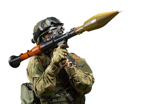 American soldier aims at the sight of an RPG on a white background. The concept of military special operations.