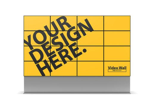 Large TV Panels Video Wall Mockup