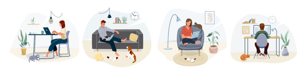 Work at home concept design. Freelance woman and man working on laptop with pets at their house, dressed in home clothes. Vector illustration set isolated on white background