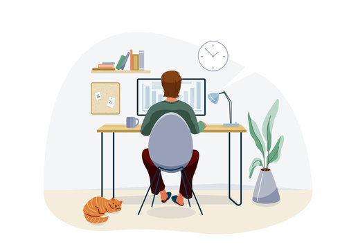 Work at home concept design. Freelancer man working on computer at his house office and striped red cat pet near him. Vector illustration isolated on white background