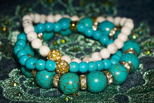 Blue and white howlite bracelets