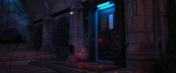 Fotomurales - Dark urban future. Street of a futuristic city. Cyberpunk cityscape. 3D illustration. Wall of a futuristic building with door and neon lights. Beautiful neon night scene.