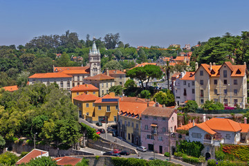 Fototapete - Sintra town houses with red roofs green street landscape, Portugal