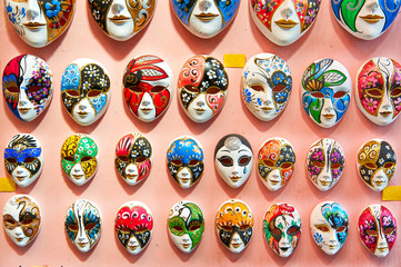 Venetian masks, Burano, Venice, Veneto, Italy, Europe