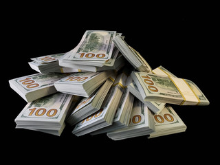 A lot of bundles of american dollars, on a black background. A bunch of one hundred dollar bills, packed in packs of ten thousand. Concept: Million, Wealth, Financial