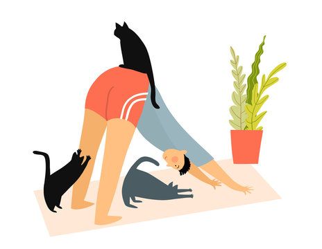 Man with cats doing yoga downward-facing dog pose or asana at home, Humorous fitness motivation cartoon, character doing exercise indoors on yoga mat, cats watching. Vector funny illustration.