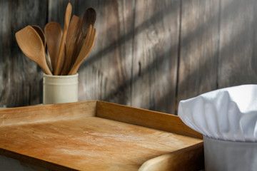 Wall Mural - Breakfast on the table in the light of the morning sun on a moody holiday day