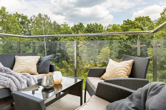 Balcony with green forest view