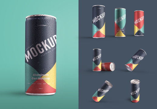 6 Aluminum Cans with Water Drops Mockup