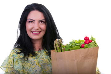 Happy woman with shopping bag with food