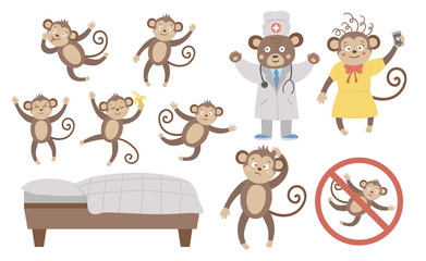 Vector set with cute five little monkeys, mommy, doctor, bed isolated on white background. Funny nursery rhyme and song illustration. Bright flat picture for children. Jungle summer clip art.