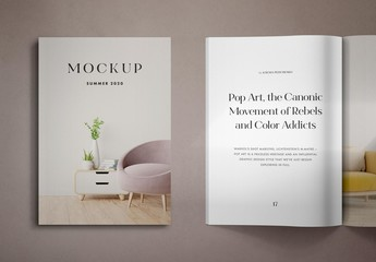 3D Realistic Opened Magazine and Cover Mockup