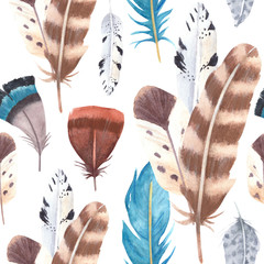 Hand drawn watercolor vibrant feathers seamless pattern