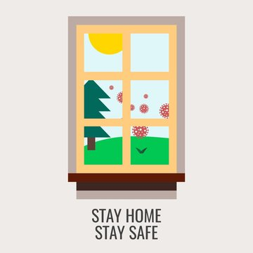 Stay home, stay safe campaign for self quarantine and physical distancing with window and spread of coronavirus outbreak outside illustration