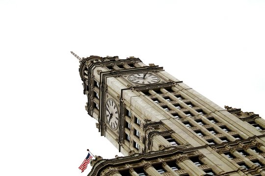 Low Angle View Of Wrigley Building Clock Tower