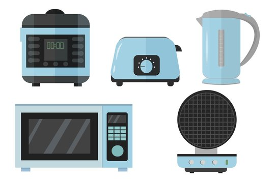 Slow cooker, electric kettle, toaster, microwave, waffle iron set in vector design. Graphic illustration of kitchen equipment in blue metallic colours isolated on white background.