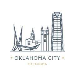 City Oklahoma City, state of Oklahoma. Line icon of famous and largest city of USA. Outline icon for web, mobile and infographics. Landmarks and famous building. Vector illustration, white isolated.