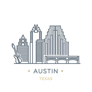 City Austin, state of Texas. Line icon of famous and largest city of USA. Outline icon for web, mobile and infographics. Landmarks and famous building. Vector illustration, white isolated.