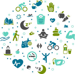 healthy living vector illustration. Concept with icons related to new year resolution, lifestyle change, motivation, healthy eating, diet, wellness, self-improvement.