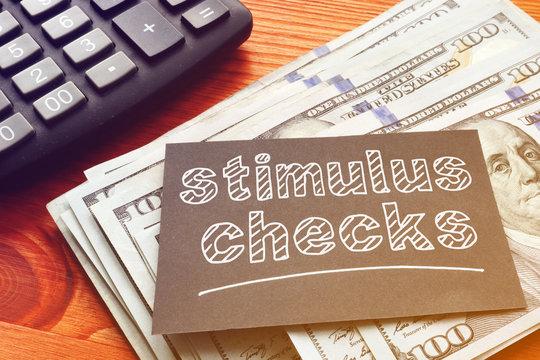 Coronavirus stimulus checks are shown on the photo