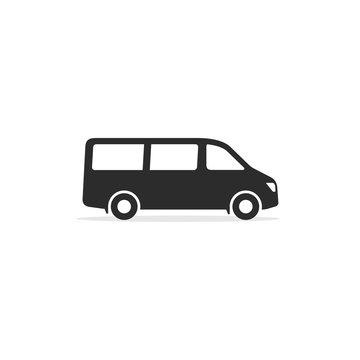 Passenger van Minibus icon. Vector isolated simple sign