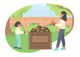 Composting. Girl and woman making compost outdoors in the garden. Recycling concept.