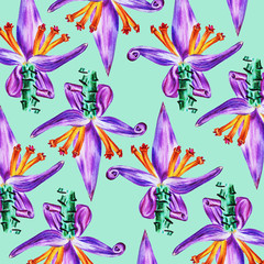 Foto op Canvas Draw Watercolor illustration. Tropical flowers on a light green background. Idea for textiles, wallpaper.
