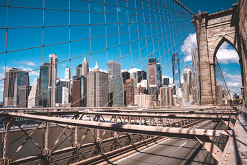 Wall Mural - Manhattan skyscraper view from the Brooklyn bridge.