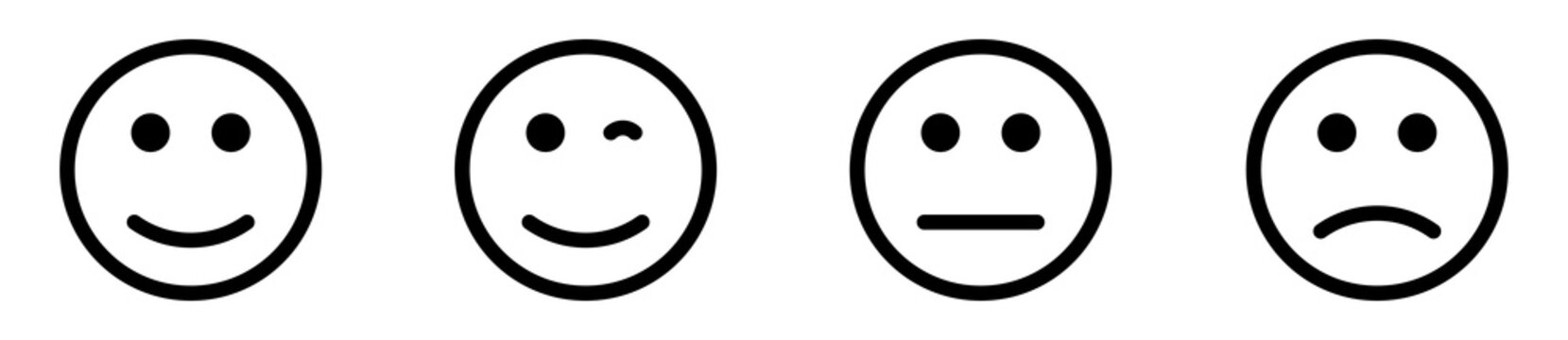 Set of vector Emoticons. Smiley emotion colection.Emoticons set. Web icons in modern simple flat design. Line smilies, set smiley emotion.Vector