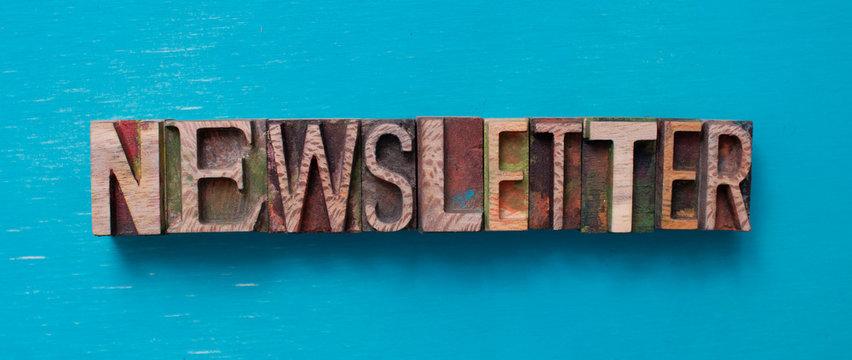 Newsletter word written with wood type blocks