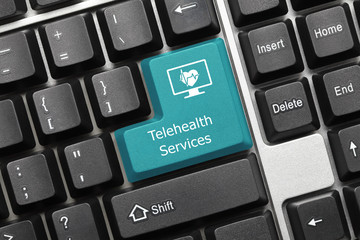 Conceptual keyboard - Telehealth Services (blue key)